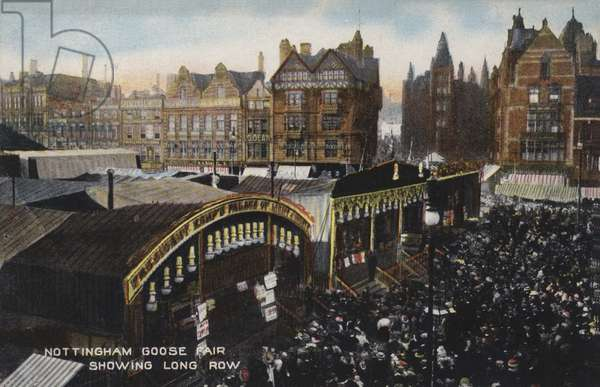 Nottingham Goose Fair, showing Long Row (coloured photo)