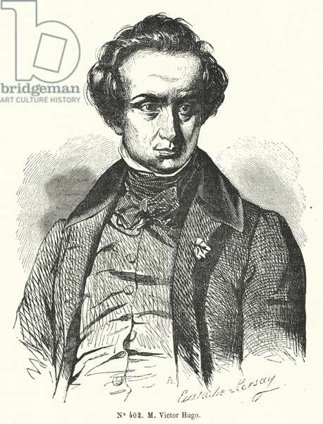 Victor Hugo, French novelist and dramatist (engraving)