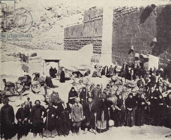 Russian Pilgrims on Mount Sinai (b/w photo)