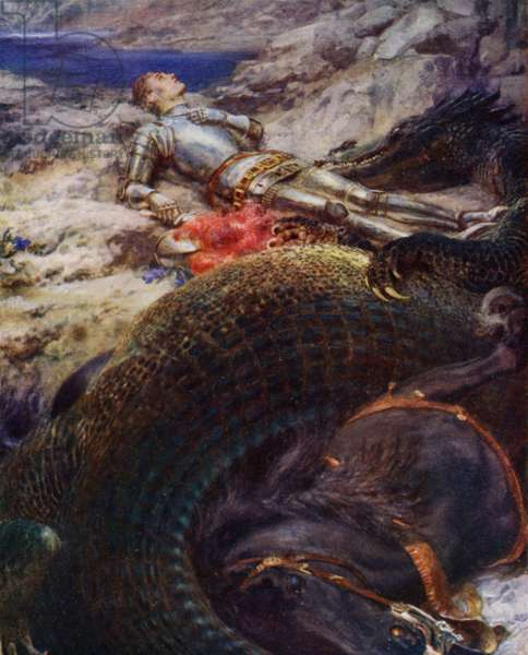 St George and the Dragon (colour litho)
