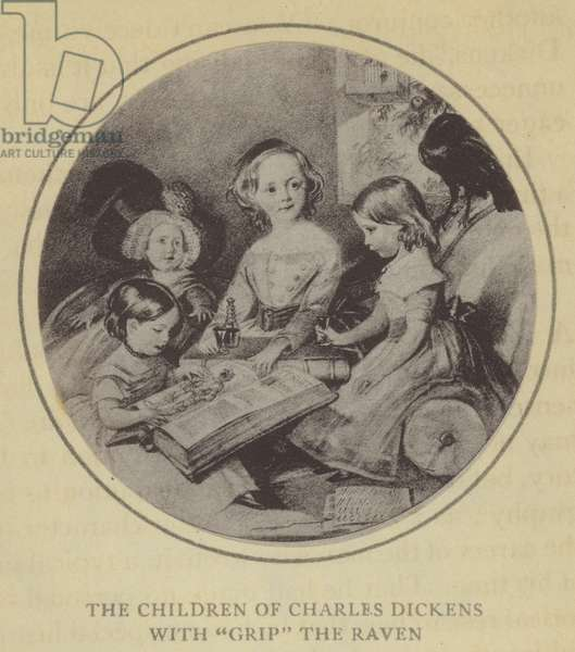 The Children of Charles Dickens with Grip the Raven (litho)