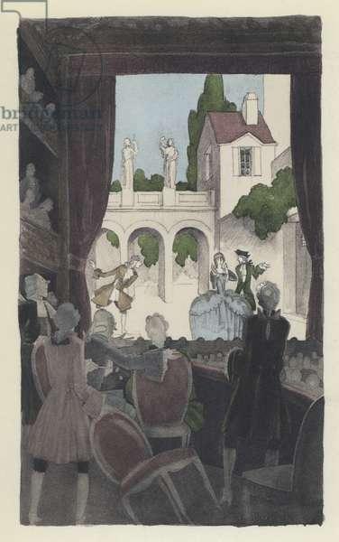 Illustration for Voltaire's Candide (colour litho)
