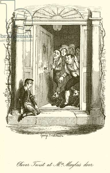 Oliver Twist at Mrs. Maylies Door (engraving)