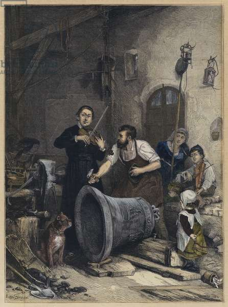 The Toning of the Bell (coloured engraving)