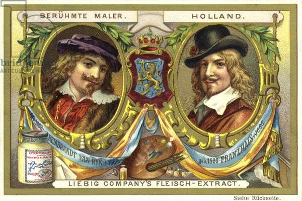Rembrandt van Rijn and Frans Hals, Dutch artists (chromolitho)