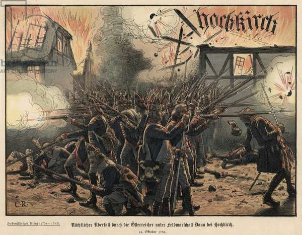 Battle of Hochkirch (colour litho)