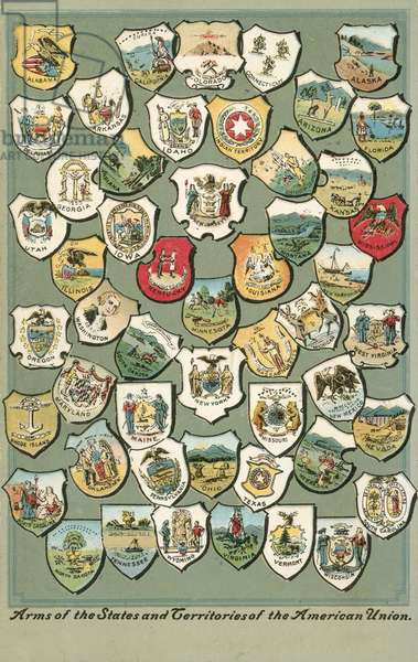Arms of the states of the USA (colour litho)