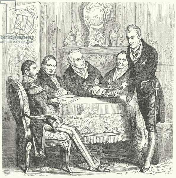 Frederick William III of Prussia in discussions with his Prime Minister, Karl August von Hardenberg and Klemens von Metternich, the Austrian Foreign Minister (engraving)