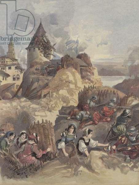 Les femmes au siege de Marseille (colour litho)