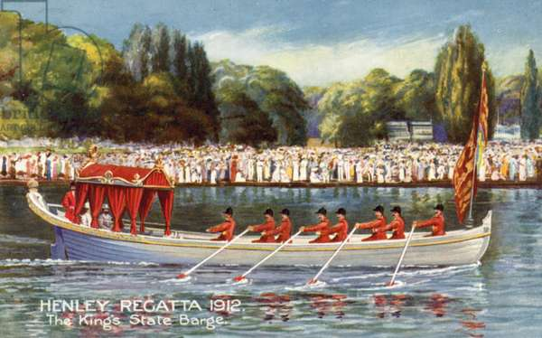 The King's State Barge, Henley Royal Regatta, 1912 (colour litho)
