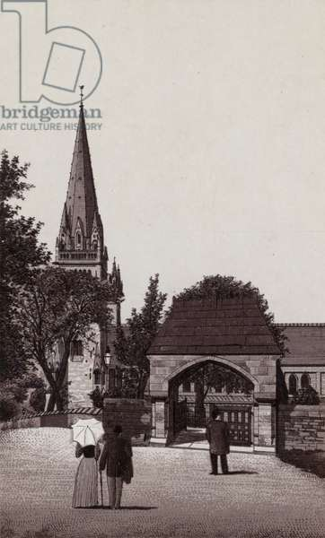 Lych Gate, Llandaff Cathedral (litho)