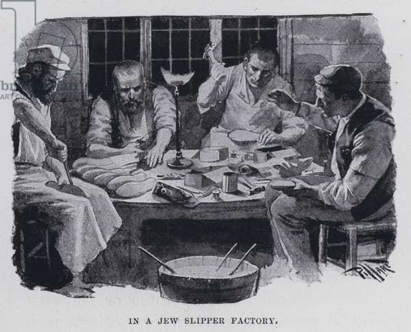 In a Jew slipper factory (b/w photo)