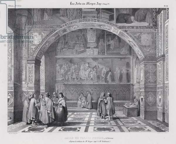Interior of the Palazzo Pubblico, Siena, Italy, with Spinello Aretino's fresco Pope Alexander III Returns to Rome on the wall in the background (litho)