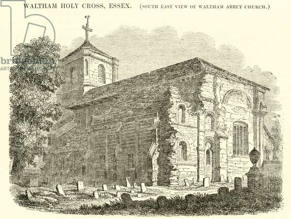 Waltham Holy Cross, Essex, south east view of Waltham Abbey Church (engraving)
