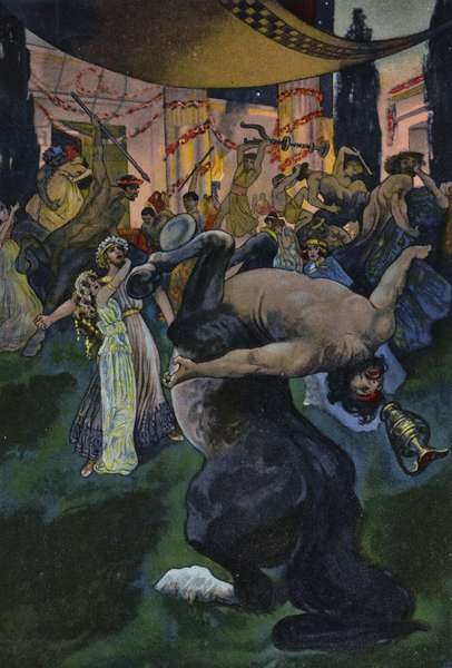 Satyrs disrupting the wedding feast of Orpheus and Eurydice, scene from Orpheus in the Underworld (colour litho)