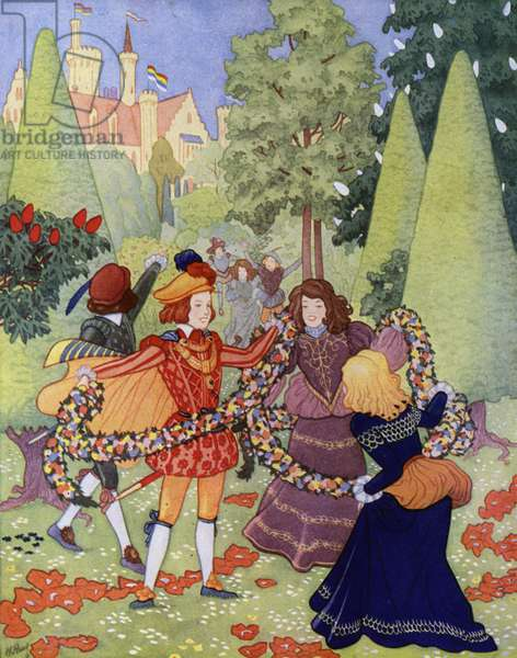 Illustration for The Happy Prince by Oscar Wilde (colour litho)