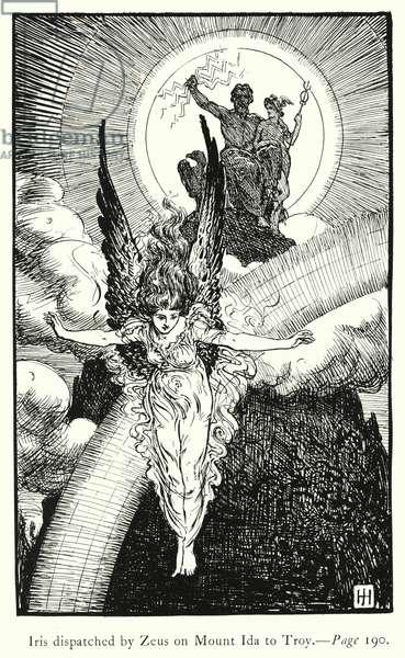 The Iliad: Iris dispatched by Zeus on Mount Ida to Troy (engraving)