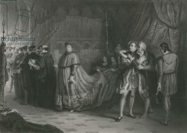 The Quarrel of Wolsey and Buckingham, King Henry VIII (engraving)