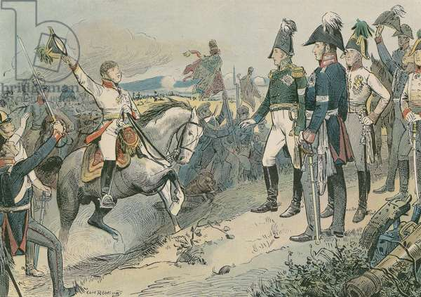 The three allied rulers at the Battle of Leipzig in 1813. (colour litho)