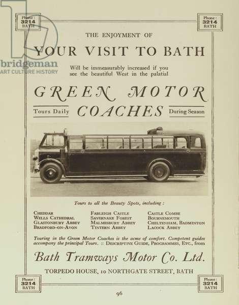 Green Motor Coaches operated by the Bath Tramways Motor Company Ltd (b/w photo)