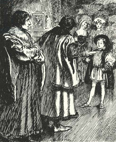 Erasmus watching Sir Thomas More presenting a poem he had written to the young Prince Henry, future King Henry VIII (litho)