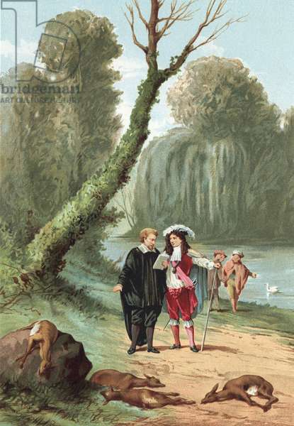 William Harvey with king Charles I in the park at Windsor