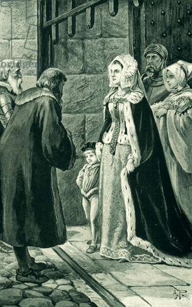 Queen Margaret, widow of James IV, defies the nobles (litho)