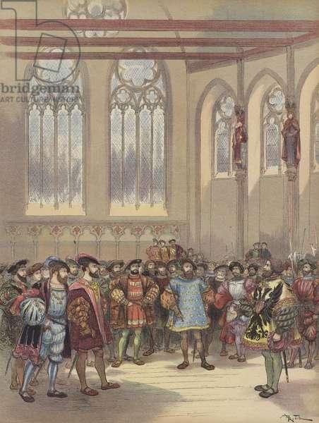 Le heraut Bourgogne, envoye par Charles-Quint, est recu par Francois Ier en la grande salle du Parlement (colour litho)