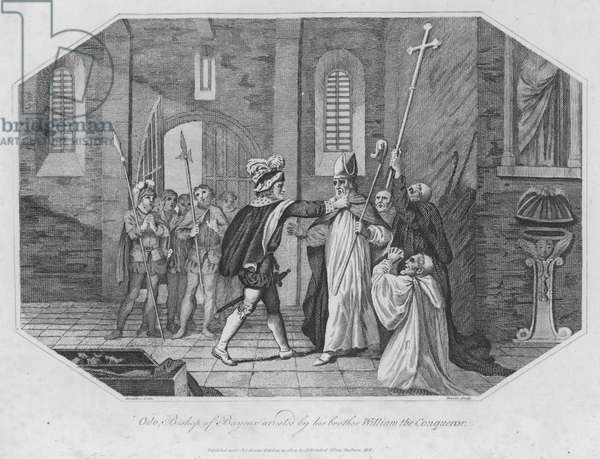 Odo, Bishop of Bayeux arrested by his brother William the Conqueror (engraving)
