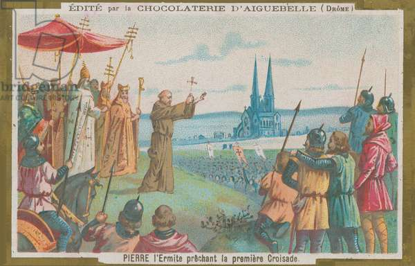 Peter the Hermit preaching at the first Crusade (chromolitho)