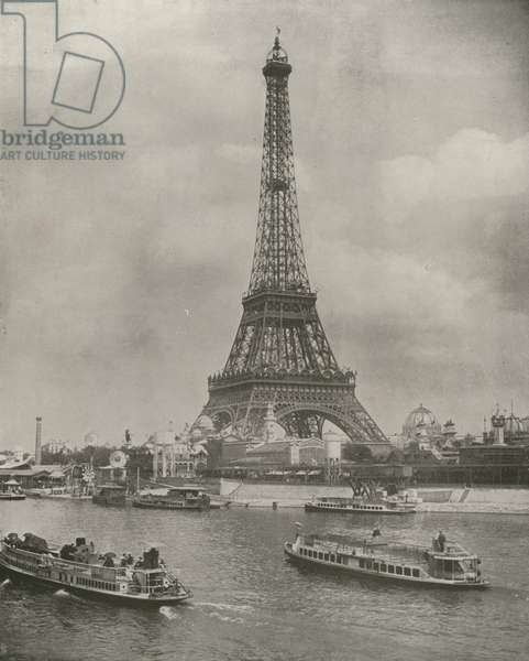 Paris: Eiffel Tower, and Front of the Exposition Grounds (b/w photo)