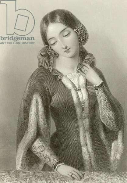 Anne of Bohemia, queen of king Richard II (engraving)