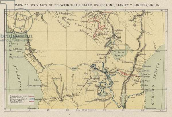 Map showing the journeys of the explorers Georg August Schweinfurth, Samuel Baker, David Livingstone, Henry Morton Stanley and Verney Lovett Cameron in Africa, 1866-1875 (colour litho)