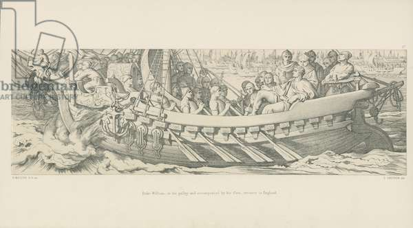 Duke William, in his Galley, and Accompanied by his Fleet, Crosses to England