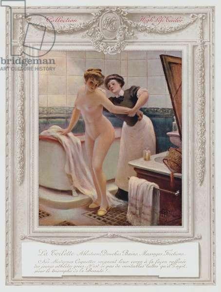 Belle Epoque Paris, Fashionable lady taking her bath (colour litho)