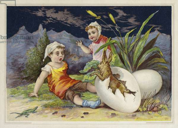 Rabbit hatching out of an Easter egg (chromolitho)