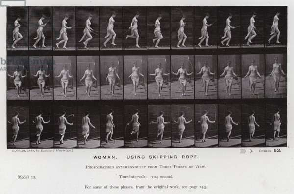 The Human Figure in Motion: Woman, using skipping rope (b/w photo)