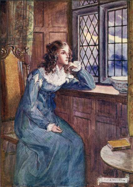 Shirley at the window (colour litho)