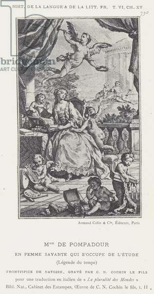 Mme De Pompadour, En Femme Savante Qui S'Occupe De L'Etude, Legende du temps (litho)