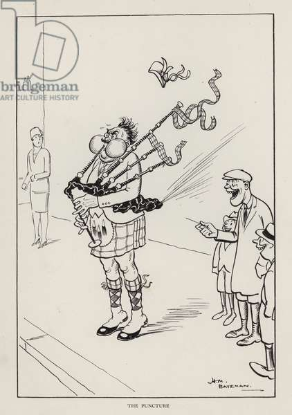 The Puncture: set of bagpipes bursting (litho)