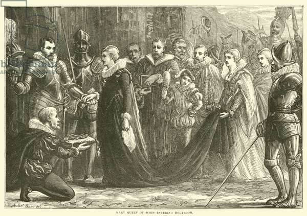 Mary Queen of Scots entering Holyrood (engraving)