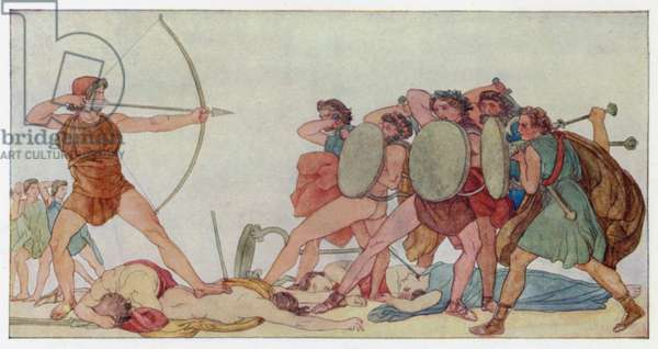 Ulysses slaying the Suitors (colour litho)