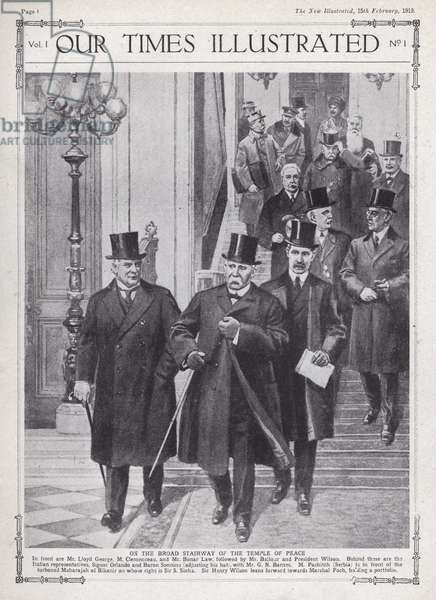 Allied leaders and delegates at the Paris Peace Conference, Versailles, France, 1919 (litho)