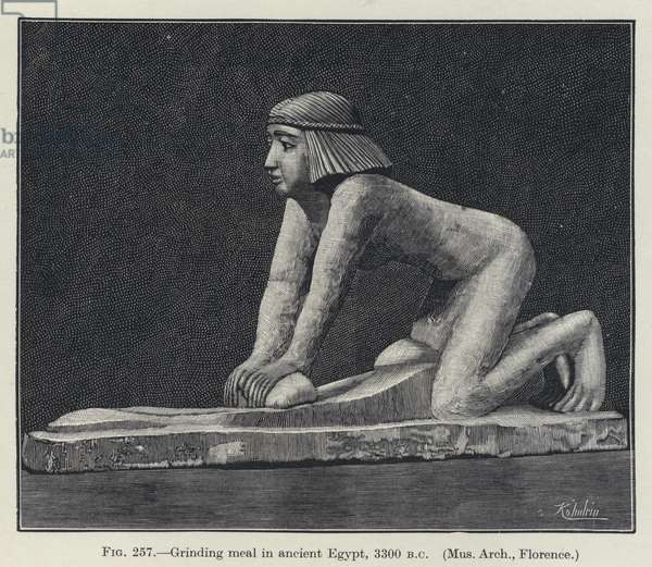 Grinding meal in ancient Egypt, 3300 BC (litho)