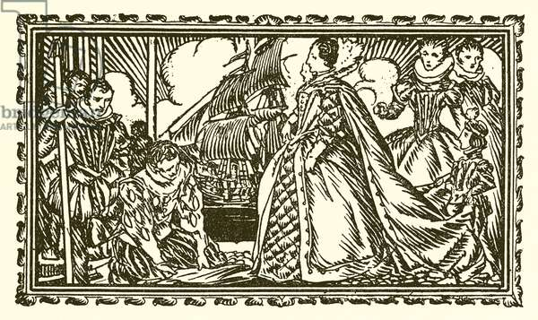 Queen Elizabeth I and Sir Walter Raleigh (engraving)