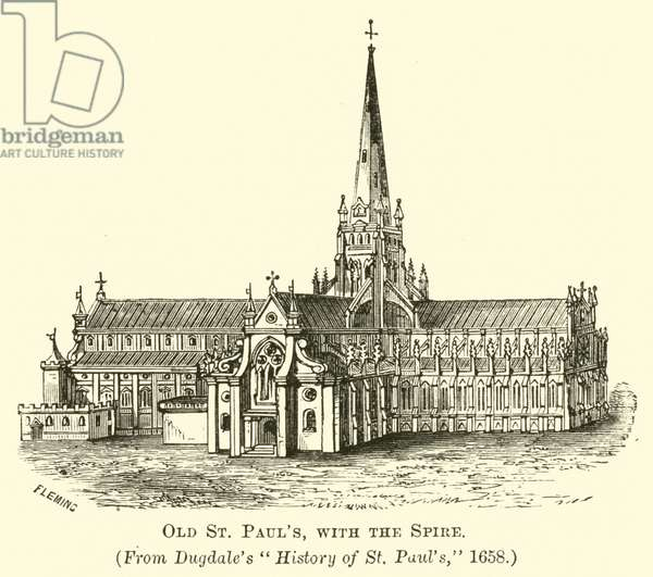 Old St Paul's with the Spire (engraving)