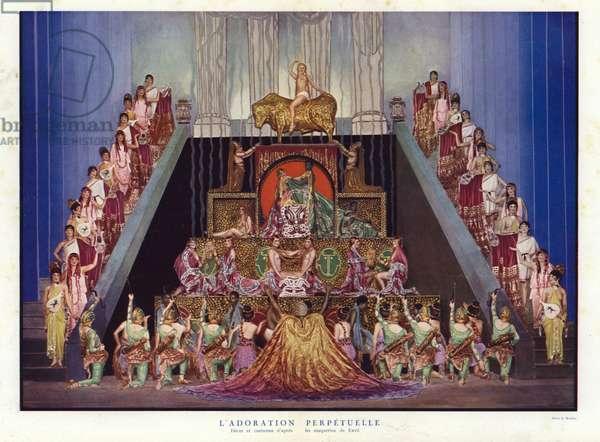 Perpetual Adoration, set and costume designs by Erte, scene from Un Soir de Folie at the Folies Bergere, Paris, 1925 (photo)