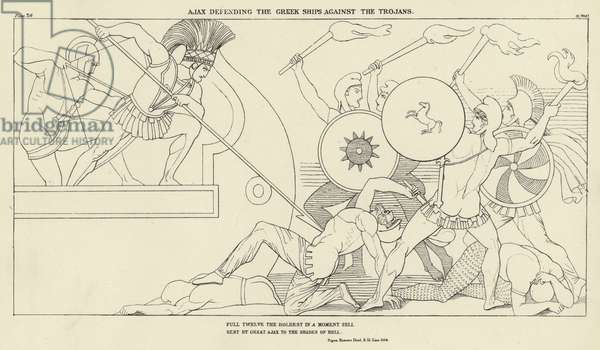 Ajax defending the Greek Ships against the Trojans (engraving)