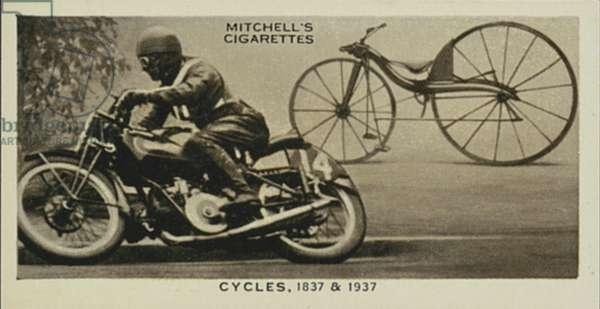 Wonderful Century, 1837-1937: Cycles, Kirkpatrick Macmillan's Bicycle, Modern Motor-cycle (litho)