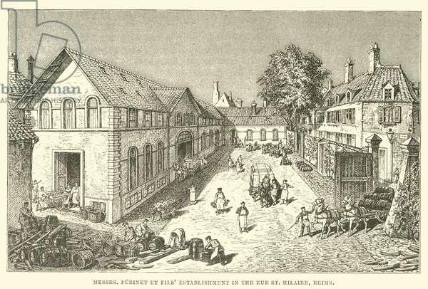 Messrs Perinet et Fils' establishment in the Rue St Hilaire, Reims (engraving)